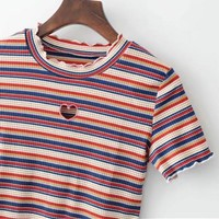 Summer new fashion love hollow stripe the color of the short sleeves of the short sleeved T-shirt