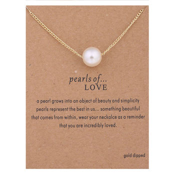 Hot Sale Sparkling White Imitate Pearl Pendant necklace gold plated Clavicle Chains Statement Necklace Women Jewelry(Has card)