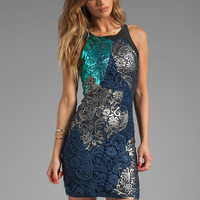 Cynthia Rowley Foiled Lace Fitted Tank Dress in Navy