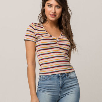 SOCIALITE Stripe Button Front Womens Tee