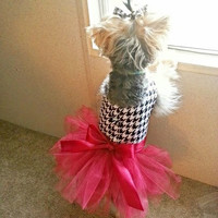 Houndstooth/Maroon Dog Tutu Dress