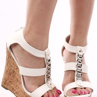 WHITE SILVER CHAIN FAUX LEATHER STRAPPY PEEP TOE CORK WRAP WEDGE