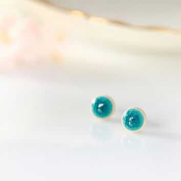 Tiny turquoise stud earring Ceramic stud earring 8mm Blue earring Mint stud Turquoise earrings Mini studs Pastel earrings sterling silver