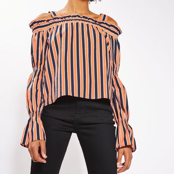 Stripe Tiered Sleeve Bardot Top | Topshop