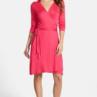 Petite Women's Loveappella Seamed Wrap Dress