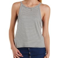 Black Combo Striped Dropped Armhole Tank Top by Charlotte Russe