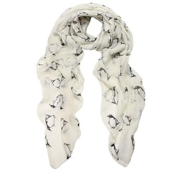 JECKSION Scarf Women Women Lady Penguin Print Shawl Voile Rectangle Scarf Scarves for shipping #LYW