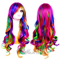 "Unicorn Hair Wig in Rainbow Color 28"" Long Curly For Halloween Costume, Cosplay, Party and More"