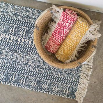 Set Of 3 Printed Cotton Rugs - One Each Color