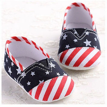 Baby Unisex Patriotic Red White and Blue Stars and Stripes Prewalker Shoe