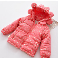18m,24m,2y,3y,4y baby coat toddler girl winter coat peach color coat - polka dot- sunflower hat