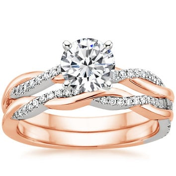 14K Rose Gold Mixed Metal Petite Twisted Vine Diamond Ring