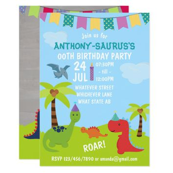 Cute Personalised Dinosaur themed Party add photo Card