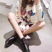 """""""Gucci"""" Women Fashion Casual Peony Flower Butterfly Print Hooded Long Sleeve Sweater Tops"""