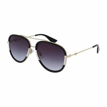 Gucci Gradient Web Aviator Sunglasses, Gold/Black/Ivory