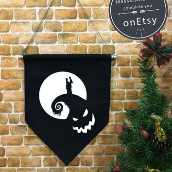 Halloween baner flag, Nightmare Before Christmas flag, Halloween Decor, Halloween banner, jack o lantern,wall hanging decoration funny gifts
