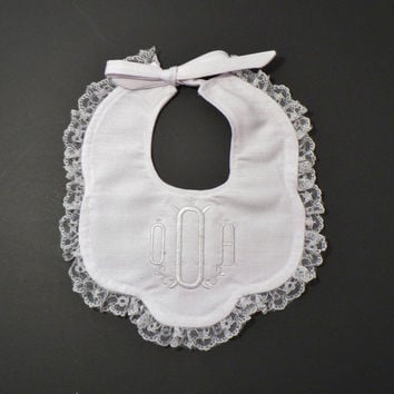 White Christening Embroidered Bib, Wedding Personalized Baby Bib, Monogrammed Heirloom Special Occasion Fancy Bib, Church Bib, Christmas Bib