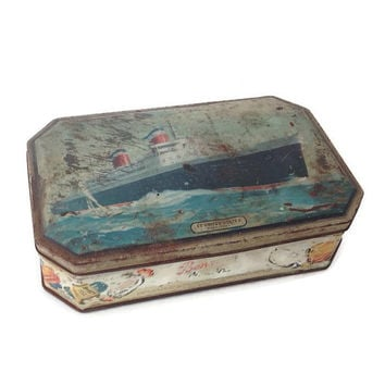 Rusty Collectible Tin-Benson's Candy Tin-S.S. United States-Made in England-English Tin-1940's-Confectionary Tin-Nautical Home Decor-Antique