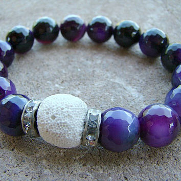 Essential Oil Jewelry, Lava Bead Bracelet, Aromatherapy, Purple, Scent Diffuser, Healing Bracelet, Stacking Bracelet, Beaded Stretch