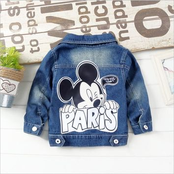 Trendy New 2018 Autumn Children Cartoon Jeans Jackets Baby Girl hole light color denim coat boys Mickey cowboy jackets size: 80-120 AT_94_13