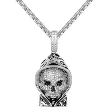 Gothic Skull Face Grinding Gear Hoody Solid Back Designer Chain