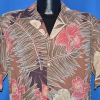 80s Hilo Hattie Orchid Rayon Aloha Shirt Large