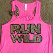 Run Wild- Leopard - Racerback Workout Tank - Womens Fitness - Ruffles with Love - Fitness Tank
