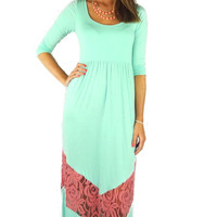 Three-Quarter Sleeve Lace Chevron Stripe Maxi Dress - Mint/Pink