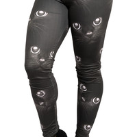 BadAssLeggings Women's Cat Leggings Medium Black