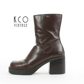 d03592ff93a Platform Boots 9 SKECHERS Brown Vegan Leather Chunky Boots Block