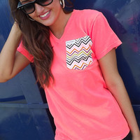 Chevron Pocket Tee - Neon Coral | The Rage