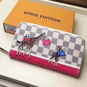LV Women Leather Print Multicolor Wallet Purse Little deer bag Print White Tartan High Quality