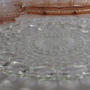 "Anchor Hocking BUBBLE Pattern Serving Plate Crystal Bubbles 9 1/2"" Diam Art Deco Dining Serving Tray Wedding Serving Platter #JUN134"