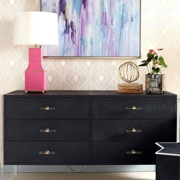 Worlds Away Rutherford 6 Drawer Shagreen and Acrylic Dresser