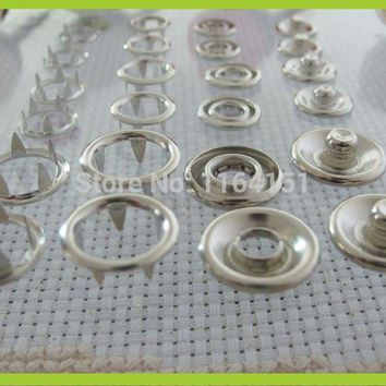 100set 9.5mm (About) prong snap button metal snap silver plated baby romper buckle scrapbook products children's clothing button