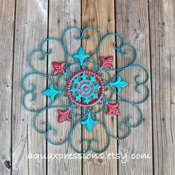 Metal Wall Decor/ Teal Blue/ Red Distressed Shabby Chic Art/ Painted Wall Furnishings/ Bright Outdoor Patio Decor/