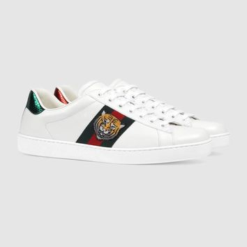 Gucci Ace Tiger head Embroidered White Low-top Sneaker One-nice™