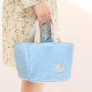 women canvas Shoulder Bag Portable Insulated Thermal Cooler Lunch Box Carry Tote Picnic Case Classic vintage prints  2017 luxury