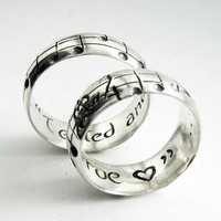 $399.00 Your Song Wedding Rings Any Song One of a Kind by Myfavoritesong
