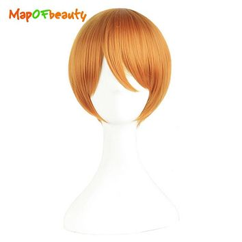 MapofBeauty short straight cosplay wigs Hoshizora Rin orange Red color High Temperature FiberHeat Resistant Synthetic hair