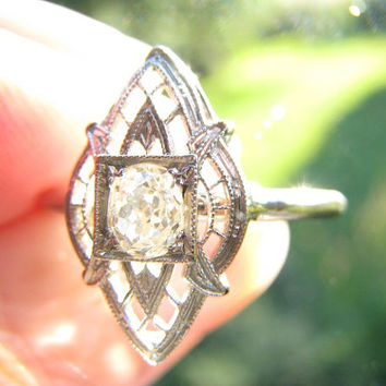 Antique Diamond Ring, Fiery Old Mine Cut Diamond, Intricate Filigree, Solid 14K White Gold, Edwardian to Early Art Deco Period