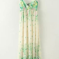 Printed Beaded V-Neck Maxi Chiffon Dress