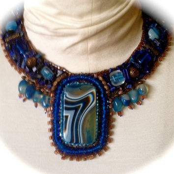 Bead Embroidered Collar- Blue and Copper