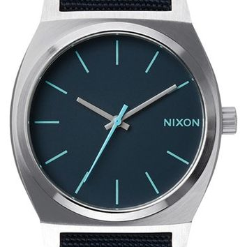 Men's Nixon 'The Time Teller' Leather Strap Watch, 37mm