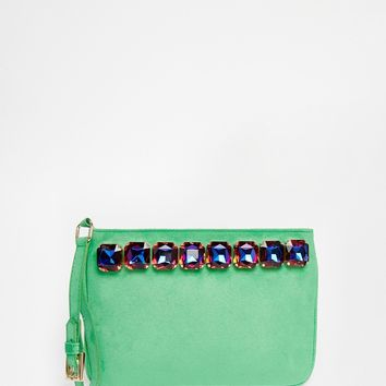 ASOS Co-ord Jewel Clutch Bag With Wrist Strap at asos.com