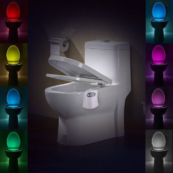 Toilet Night Light Auto-sensing LED Seat Lamp Motion Toilet Bowl Home Bathroom Red&Green Light Lamp no battery