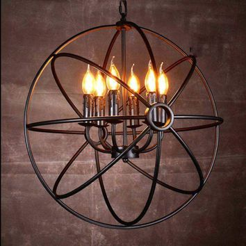 Hot Industrial Vintage Chandelier Light Ceiling Lamp Metal Cage 6 Lights