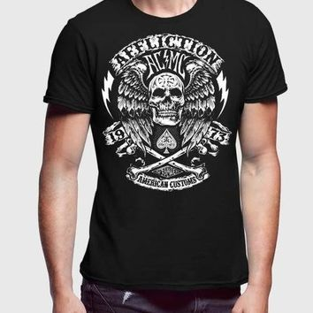 Affliction Since 73 Black Half Sleeve Men Premium
