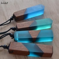 Wood Resin Necklace Pendant W/Woven Rope Chain