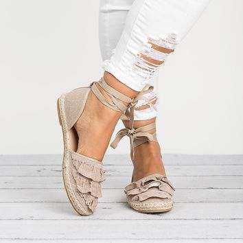 Ruffle Lace Up Espadrilles-Beige